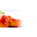 Pêches caramélisées au sirop de fraise